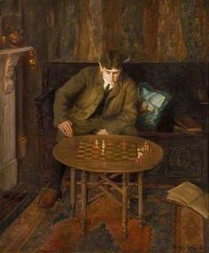 A Young Man Sitting on a Settle Leaning over a Chess Table, 1904 by Beryl Fowler (British 1881-1963)
