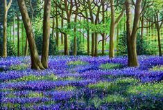 Bluebell Woods, Print 8 x Wald, Landschaftsmalerei, Natur Forest Painting, Dot Art Painting, Pebble Painting, Acrylic Painting Canvas, Painting On Wood, Blue Bell Flowers, Woodlands Cottage, Wooded Landscaping, Woodland Art