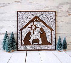 Nativity string art   String art, nativity, holiday decor, Christmas decor, Jesus is the reason, handmade, wood sign, negative space, Xmas, home decor, farmhouse style, farmhouse decor, farmhouse, modern farmhouse