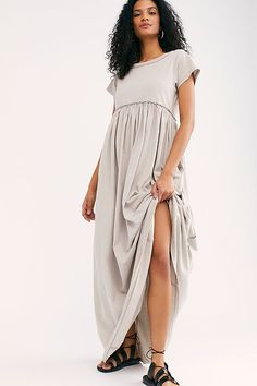 Carissa Tee Dress by Free People, Grey, S College T Shirts, Emma Roberts, Everyday Dresses, Tee Dress, Office Outfits, Fitted Bodice, Free People Dress, Her Style, Street Style