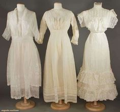 batiste and lace tea gowns, Vintage Ball Gowns, Vintage Dresses, Vintage Outfits, Lace Dresses, Lace Gowns, Vintage Clothing, 1900s Fashion, Edwardian Fashion, Vintage Fashion