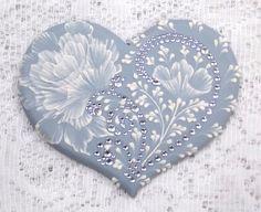 Hand Painted Soft Blue MUD Roses Heart Cookie от MargotTheMUDLady