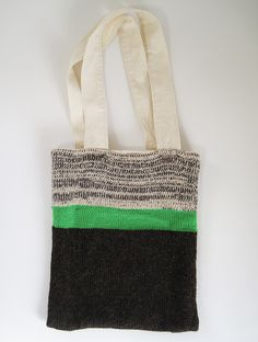knit tote bag but attach handles inside or lower down on canvas/calico inner bag so it doesn't stretch.