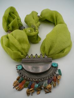 Green silk touch with silver and semi-precious stones..     #silver #green #silk  #turquoise #goldplated  #necklace #antiktugra #jewelery #fabric #antic #gold #fashion #design #woman