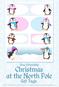 Free Printable Party Invitations: Free Printable Penguin Gift Tags Free Printable Christmas Gift Tags, Christmas Labels, Holiday Gift Tags, Printable Tags, Noel Christmas, Holiday Crafts, Free Printables, Christmas Decor, Free Printable Party Invitations