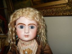 FABULOUS ANTIQUE FRENCH BLONDE MOHAIR WIG FOR BRU/JUMEAU/STEINER ANTIQUE DOLL
