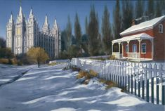 This charming painting depicts an 1893 view of Memory Grove, located in the mouth of City Creek Canyon Road in Salt Lake City. Utah Temples, Lds Temples, Panning For Gold, Splash Park, Canyon Road, A Day In Life, Salt Lake City, Around The Worlds, Memories