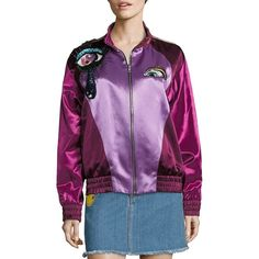 Marc Jacobs Satin Bomber Jacket ($3,200) ❤ liked on Polyvore featuring outerwear, jackets, apparel & accessories, maroon, zip front jacket, marc jacobs jacket, maroon bomber jacket, purple jacket and embellished jacket