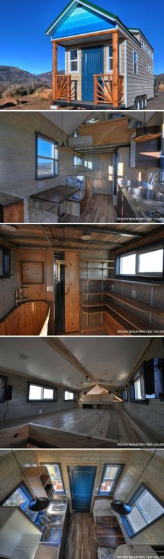 The ombre fish scales are a must! The Ol' Berthound Blue tiny house Tiny House Plans, Tiny House On Wheels, Tiny House Living, Small Living, Tiny House Nation, Tiny House Movement, Small Places, Tiny Spaces, Tiny House Design