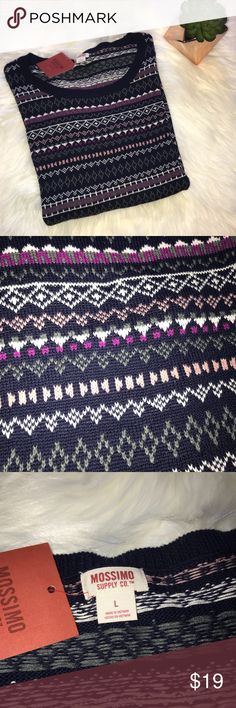 """NWT [Mossimo Supply] Navy & Purple Printed Sweater NWT Mossimo Supply Co Navy & Purple Printed Sweater - size large - bust 23"""" length 29"""" - 100% cotton Mossimo Supply Co. Sweaters Crew & Scoop Necks"""