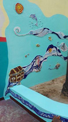 Ricardo Stefani Mural mosaico Un Mar de Juegos en el Jardín de infantes integral n 1 Alfredo Palacios.