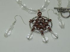 Hand-Made Chain Maille Pendant on Faceted Quartz Beaded Necklace & Earrings