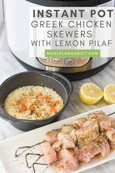 Instant Pot Greek Chicken Skewers with Lemon Pilaf by Meal Plan Addict. This pot in pot Instant Pot Greek Chicken Skewers with Lemon Dill Pilaf is a magical one pot wonder where the chicken and rice are prepared at the same time, yet separate! Find more Instant Pot Dinner Recipes at www.mealplanaddict.com #mealplanaddict #instantpot #dinnerideas Greek Chicken Skewers, Greek Dinners, 30 Minute Dinners, Instant Pot Dinner Recipes, Greek Salad, Quick Meals, Separate, Meal Planning, Lemon