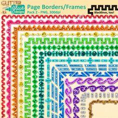 Border Clip Art {Rainbow Glitter Frames for Worksheets & Resources} 2