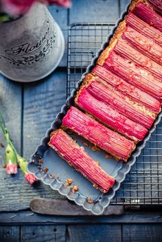 Rhubarb, Almond and Ginger Tart #dessert
