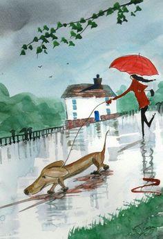 Dog Walker in Rain
