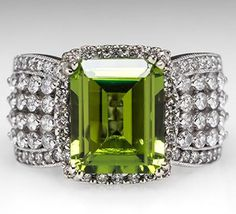 My birthstone: Wide Band Peridot Cocktail Ring w/ Diamonds White Gold Peridot Jewelry, Gems Jewelry, Bling Jewelry, Diamond Jewelry, Vintage Jewelry, Pandora Jewelry, Jewlery, Bling Bling, Bijoux Art Deco