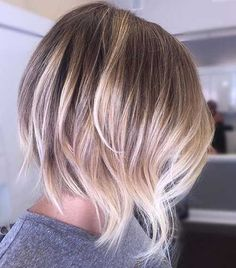 The balayage hair and the short blonde hairstyles are the hottest topics in this year! You can see the balayage hair everywhere now. Ombre hair is trendy. Ombre Hair Color, Hair Color Balayage, Brunette Color, Balayage Hairstyle, Dark Brunette, Brunette Hair, Ombre Hair Bob, Bayalage Color, Blonde Color