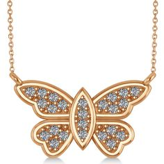 Allurez Diamond Butterfly Pendant Necklace 14k Rose Gold (0.24ct) ($545) ❤ liked on Polyvore featuring jewelry, necklaces, rose, angel wing necklace, rose gold necklace, diamond pendant necklace, rose necklace and cross necklace