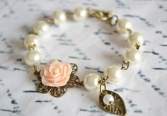 You Choose Colors - Flower Girl Gift Bracelet Pearl Bridesmaids Bracelet Childrens Gift - Wedding Accessories on Etsy, $18.01