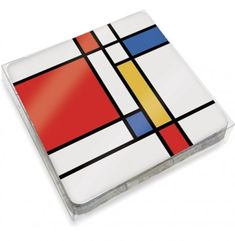 Piet Mondrian, Ceramic Painting, Rock Painting, Mid Century Wall Art, Fused Glass Plates, Arte Country, Glass Coasters, Wood Design, Painted Rocks