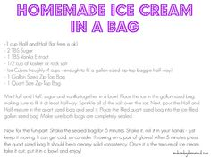 How to make Homemade Ice Cream in a Bag (dessert+science experiment = happy kids)