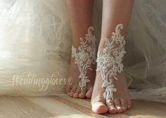 ivory lace barefoot anklet ivory Beach wedding by WEDDINGGloves, $30.00