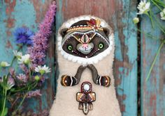 ooak toy ferret art doll indian ferret cute plush toy ooak tribal art animal plush toy polymer clay  sculpture