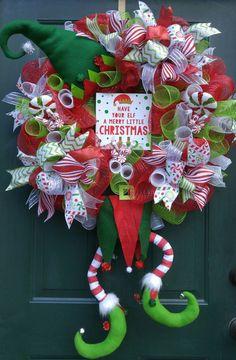 XL Deco Mesh Christmas Elf Wreath Elf by SimplyDarlingByApril Whimsical Christmas, Merry Little Christmas, Winter Christmas, Christmas Time, Wreath Crafts, Christmas Projects, Holiday Crafts, Wreath Ideas, Holiday Decor