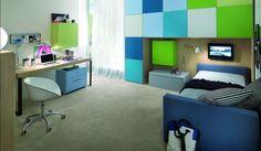 kinderzimmer farben ideen jungs blau grün modern