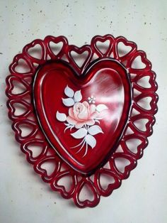 Vintage Ruby Red Westmoreland Glass Rose Flowered Heart Plate Signed Dated