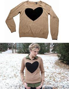 heart sweater DIY