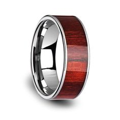 Men's Tungsten Carbide Band with Exotic Brazilian Rose Wood Inlay Wood Inlay Rings, Wood Rings, Tungsten Wedding Rings, Tungsten Carbide Rings, Jewelers Near Me, Mirror Jewelry Armoire, Silver Ring Designs, Wedding Band Sets, Unique Rings