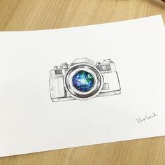 ✍ ∥Camera + Galaxy ∥ 카메라와 우주✨ 포토그래퍼의 주문도안 #illust #tattoo #design #wonseok…