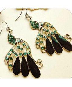 Royal style rhinestone crystal peacock drop earrings
