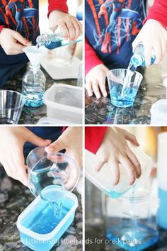 Explore the concept of volume, size, and capacity with just a few simple materials in this fun science investigation for preschool, pre-k, and kindergarten. Capacity Activities, Water Activities, Preschool Activities, Science Fun, Science For Kids, Kindergarten Inquiry, Pre K Pages, Educational Psychology, Sensory Bags