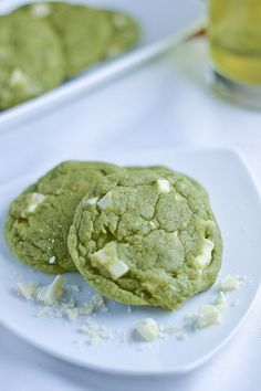 White Chocolate Green Tea Cookies. I think I'd do dark chocolate though, especially for Bobby.   Find more stuff: www.victoriasbestmatchatea.com