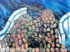 Photo about BERLIN GERMANY MAY Mural sea of humanity on may 22 2010 in Berlin Germany. East Side Gallery - the largest outdoor art gallery in the world. West Berlin, Berlin Wall, Berlin Street, East Side Gallery, Wall Murals, Wall Art, Open Air, Photo Essay, Street Art Graffiti