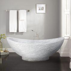 "75""+Vespasian+Stone+Double-Slipper+Tub+-+Polished+Carrara+Marble"