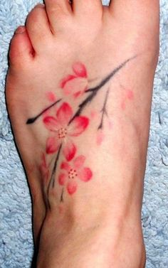 Adorable Cherry Blossom Tattoo on Foot