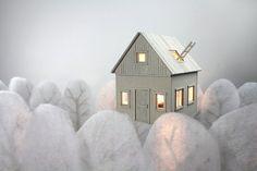 Cardboard house table or bedside lamp by LifeInCardboard.