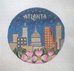 Handpainted Atlanta Skyline Needlepoint canvas by colors1 on Etsy (Craft Supplies & Tools, Sewing & Needlecraft Supplies, Canvas & Stitchables, ornament, holiday, christmas, decoration, embroidery, cross stitch, needlepoint, Atlanta, Atlanta Skyline, needlecraft, needlepoint canvas, needlepoint pillow, needlepoint pattern)