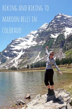 A great day in the outdoors of Colorado: biking and hiking up to Maroon Bells near Aspen, Colorado