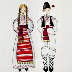 Rebeca Grigorescu - Romanian traditional folk costume - Illustration Art Costume, Folk Costume, Greek Crafts, German Folk, Traditional Paint, Foto Transfer, Vintage Wall Art, Sketch Inspiration, Stone Painting