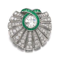 Emerald and Diamond Brooch, 'Cocarde', Suzanne Belperron, 1942