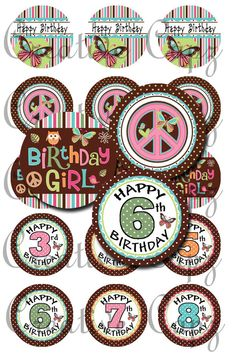 Hippie Chick Birthday Images for Bottle Caps 4x6 by CreativeCapz, $2.00