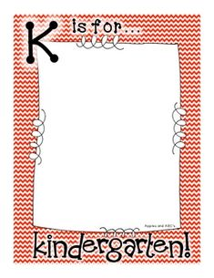 K is for Kindergarten- photo frame-- paste kid pic in the middle and hang in room? Welcome To Kindergarten, Kindergarten Gifts, Kindergarten First Day, Kindergarten Graduation, Kindergarten Classroom, Classroom Decor, School Photo Frames, School Pics, Classroom Organization
