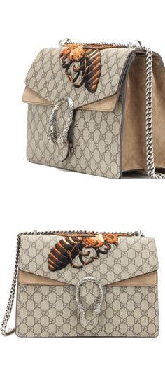 Embroidered Canvas and Suede Shoulder Bag by GUCCI for Fall 2015
