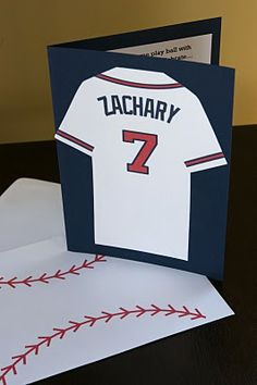 Cute homemade card. What boy or Girl would love this , use baseballcards , bats little hats cool