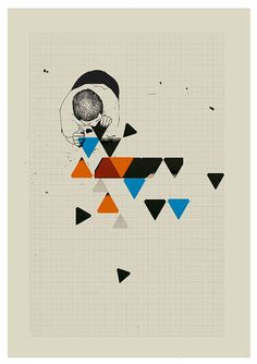 eating triangles  A3 art print mixed media digital by jesusperea, $40.00